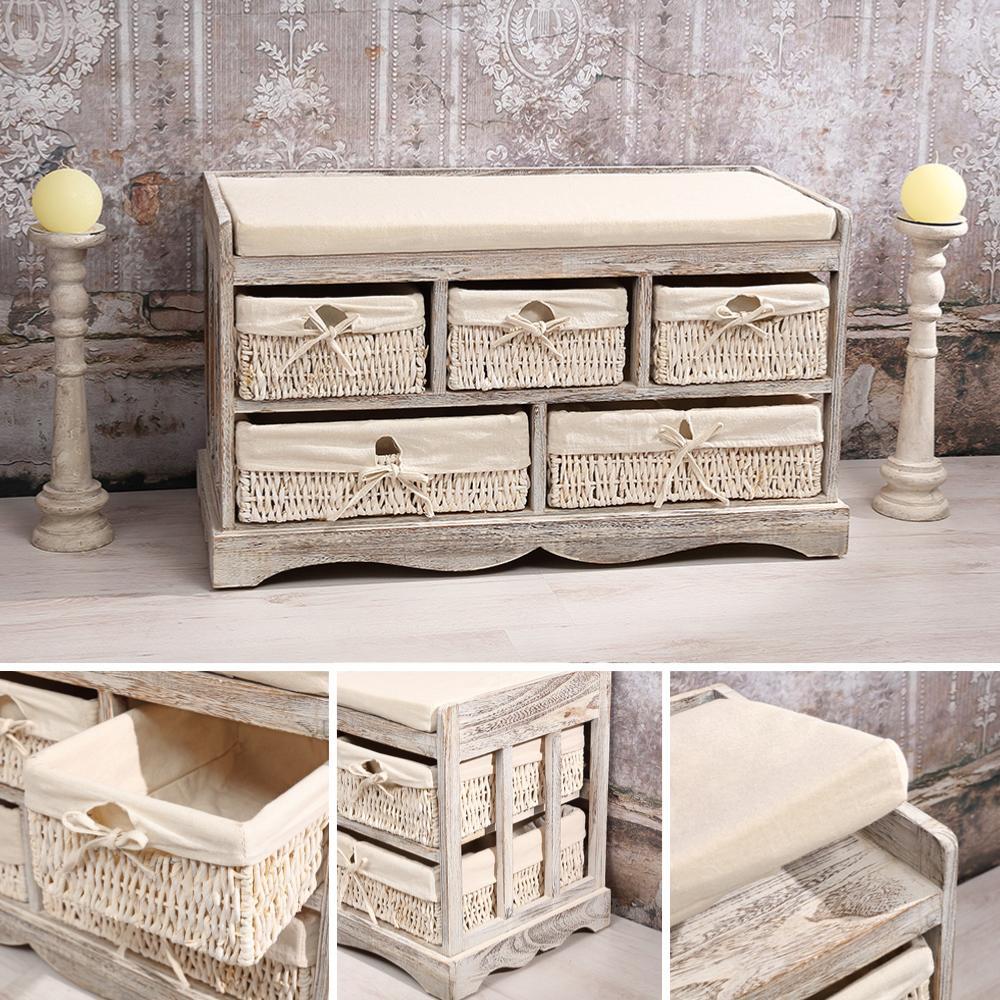 commode banc de style ancien en bois blanc antique. Black Bedroom Furniture Sets. Home Design Ideas