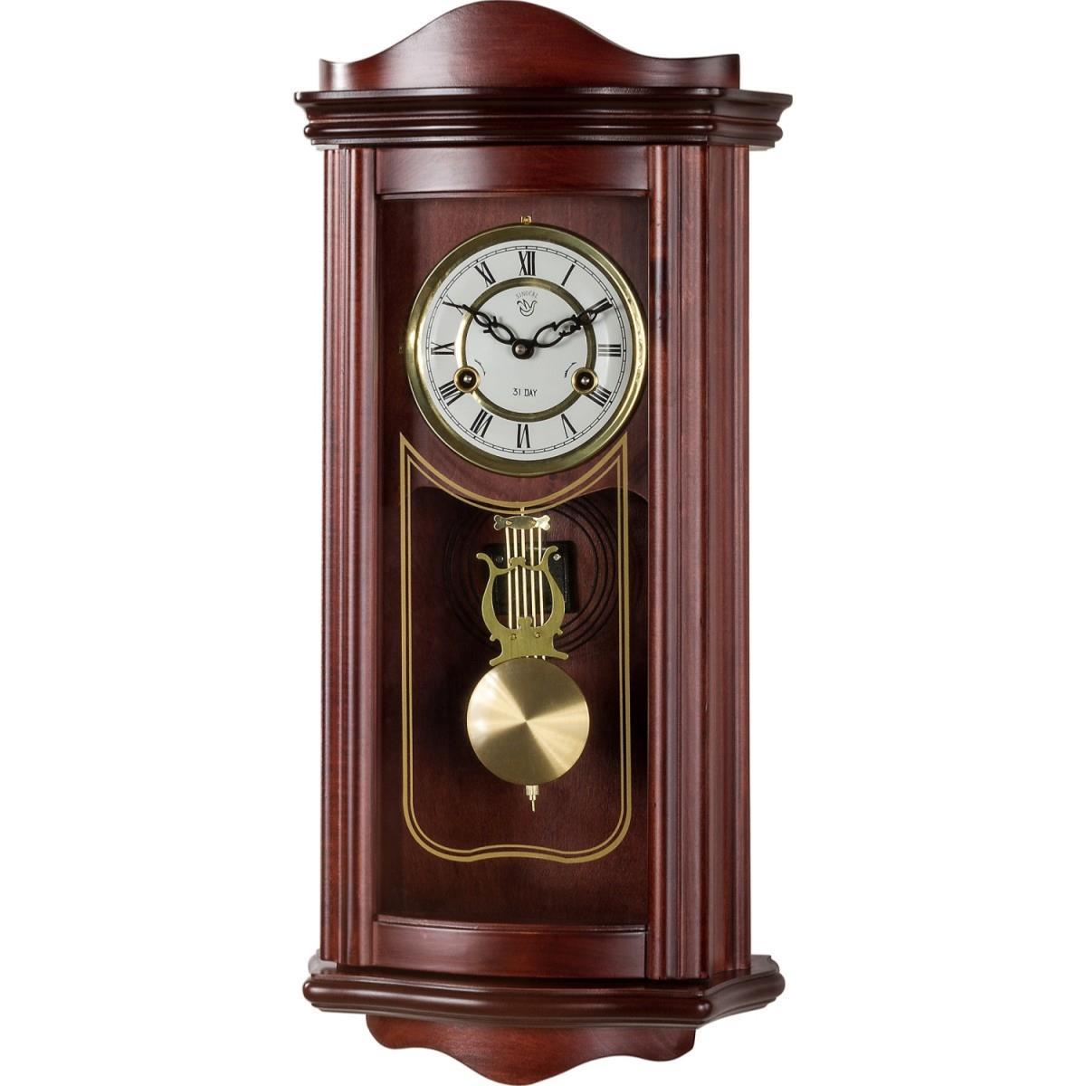 horloge pendule murale 63 cm style ancien acajou. Black Bedroom Furniture Sets. Home Design Ideas