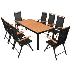 SALON de jardin aluminium/composite, 8 fauteuils