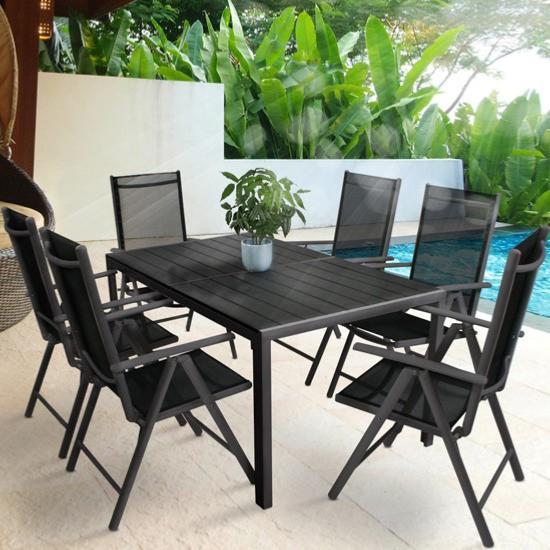 Salon de jardin aluminium composite pour 6 personnes - Salon jardin composite aluminium ...