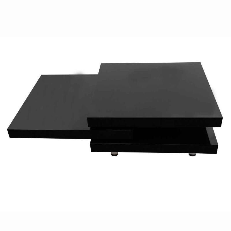 Table basse pivotante ronde mod le onde noir ou blanc - Table basse pivotante ...