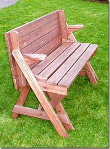 Banc de jardin bois massif, transformable en table pique-nique