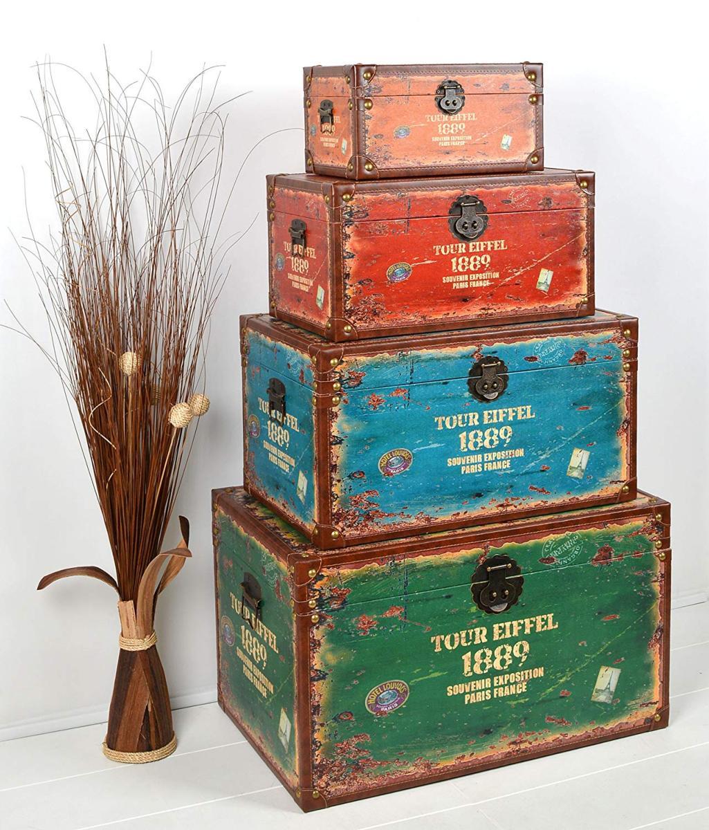 Coffre de rangement 4 blocs, en bois 4 coloris, vintage