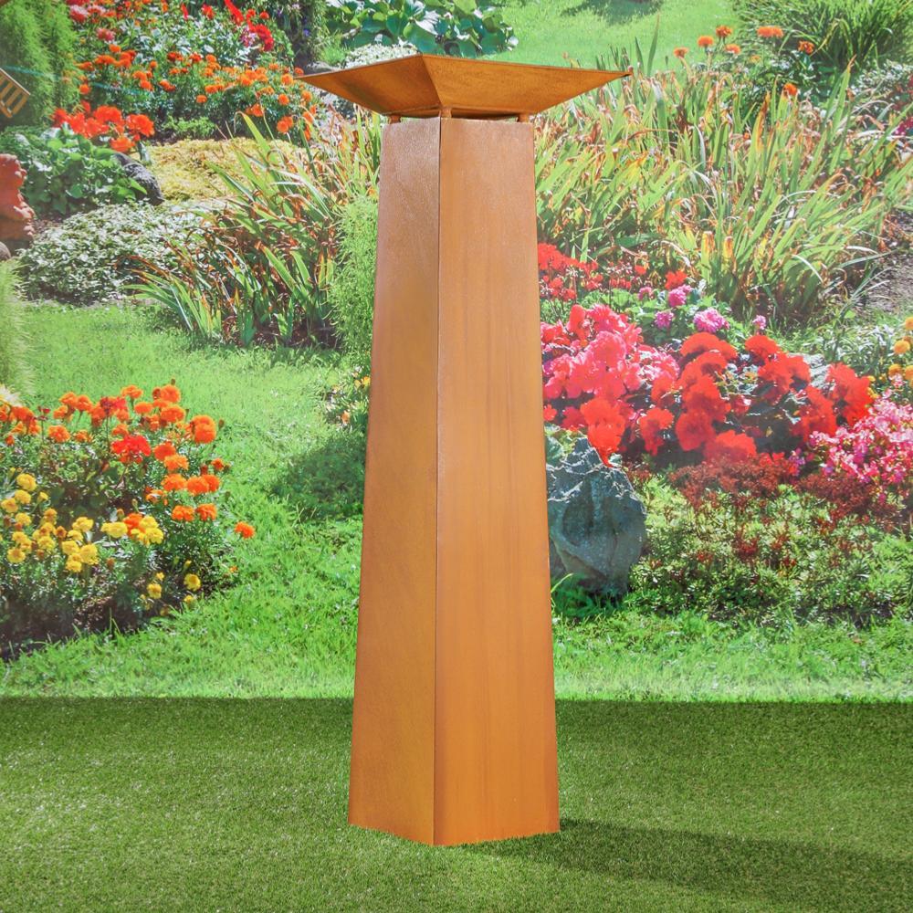 Colonne d coration jardin en m tal galvanis couleur rouille - Deco jardin metal rouille ...