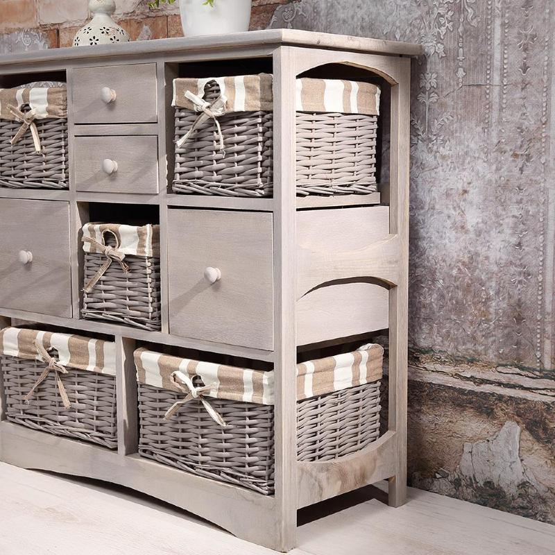commode grise style ancien en bois 4 tiroirs et 5 paniers. Black Bedroom Furniture Sets. Home Design Ideas