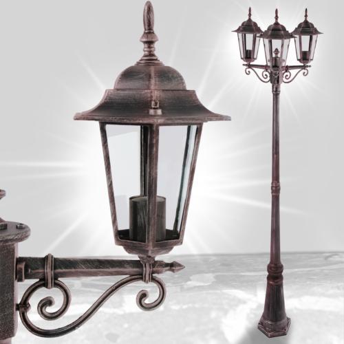 lampadaire couleur rouille en aluminium ext rieur 3 t tes. Black Bedroom Furniture Sets. Home Design Ideas