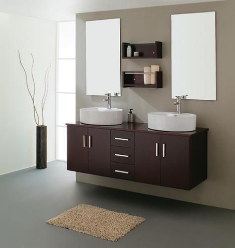Meuble salle de bain double vasque miroir couleur weng - Ustensiles salle de bain ...