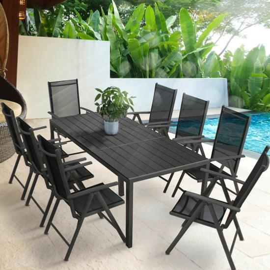 salon de jardin aluminium composite pour 8 personnes. Black Bedroom Furniture Sets. Home Design Ideas