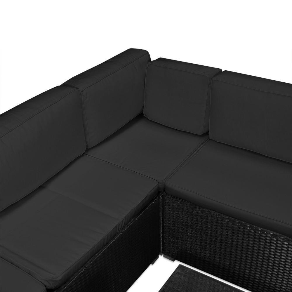 Salon, canapé de jardin d\'angle, résine tressée, gris anthracite