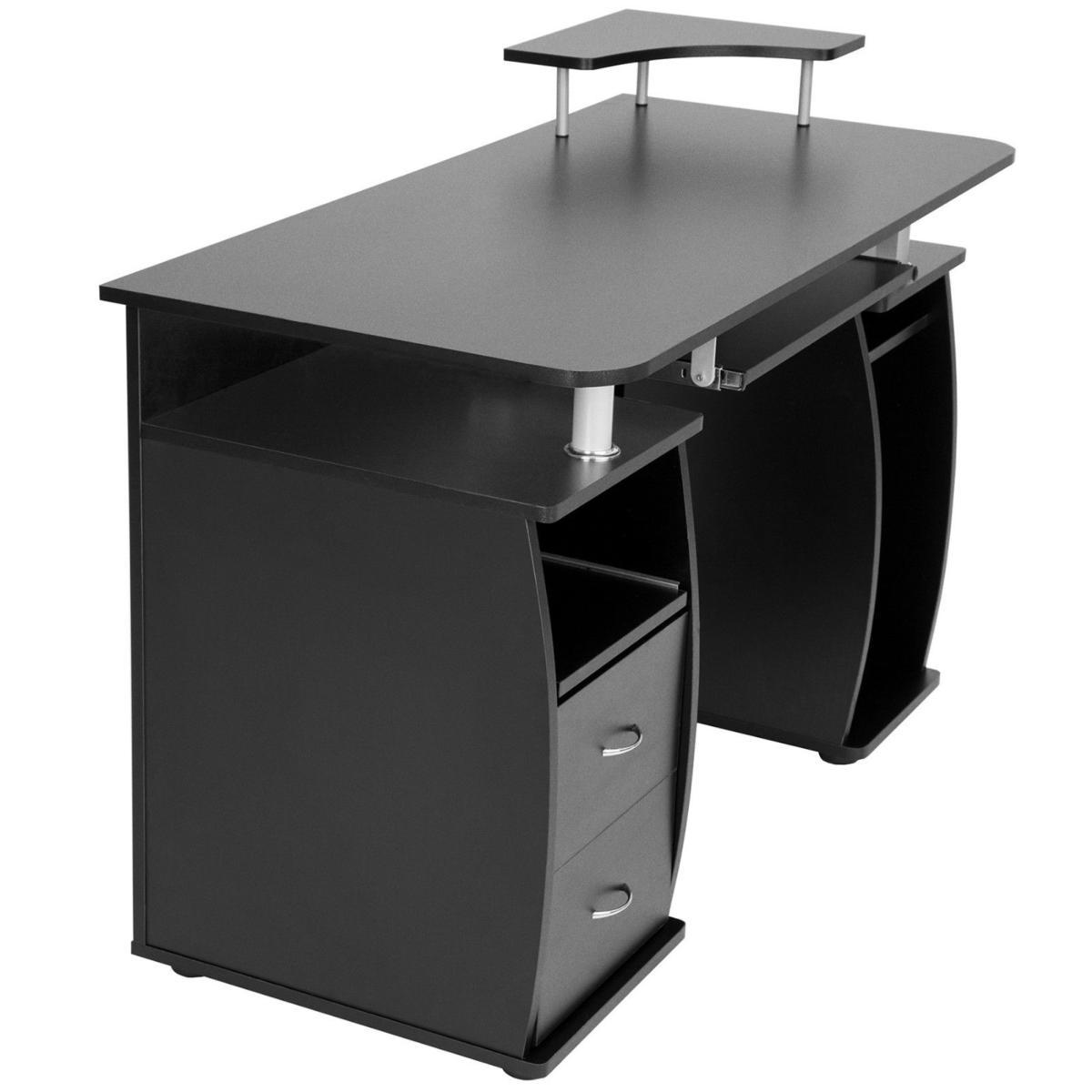 bureau informatique design noir. Black Bedroom Furniture Sets. Home Design Ideas