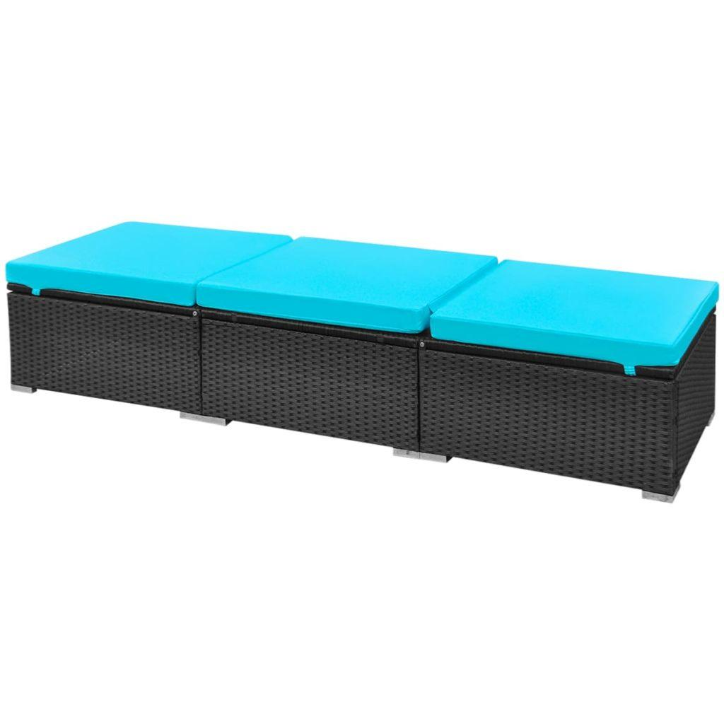 salon jardin r sine tress e modulable noir avec transats. Black Bedroom Furniture Sets. Home Design Ideas
