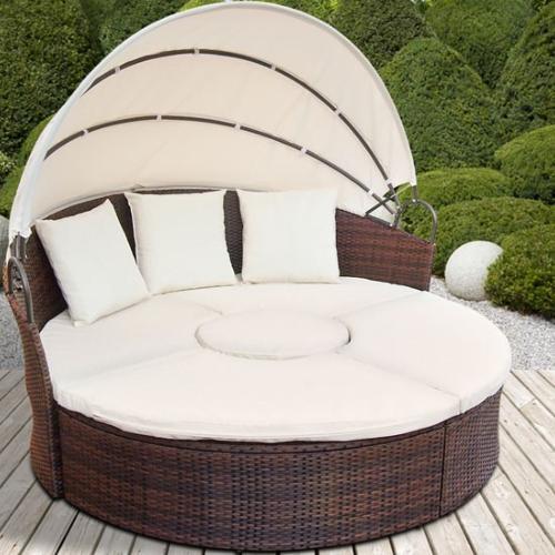 Canapé de jardin rond modulable en résine tressée marron