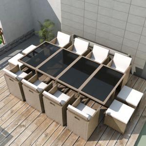 Salon de jardin résine tressée, gris/beige , 8, 10 ou 12 personnes