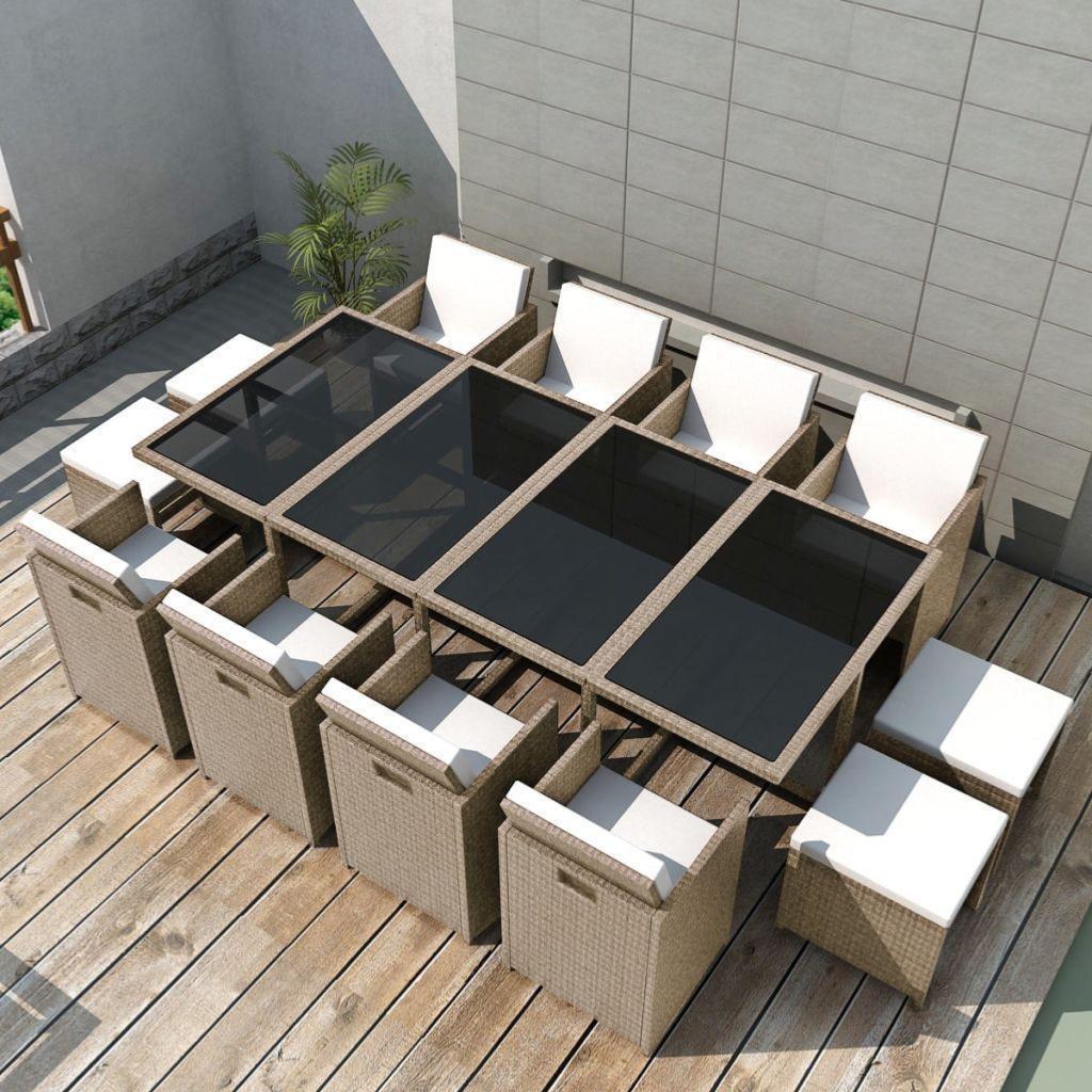 salon de jardin r sine tress e gris beige 8 10 ou 12 personnes. Black Bedroom Furniture Sets. Home Design Ideas