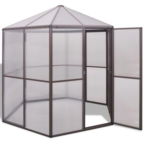SERRE de jardin hexagonale, aluminium marron