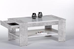 table basse en bois gris bton 100 cm avec tiroir modle berlin
