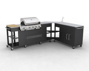 Barbecue gaz inox meuble cuisine d 39 angle modulable for Etabli cuisine inox