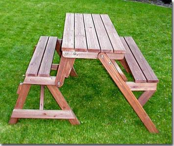 Banc de jardin en bois massif transformable en table pique nique - Banc de jardin transformable en table ...