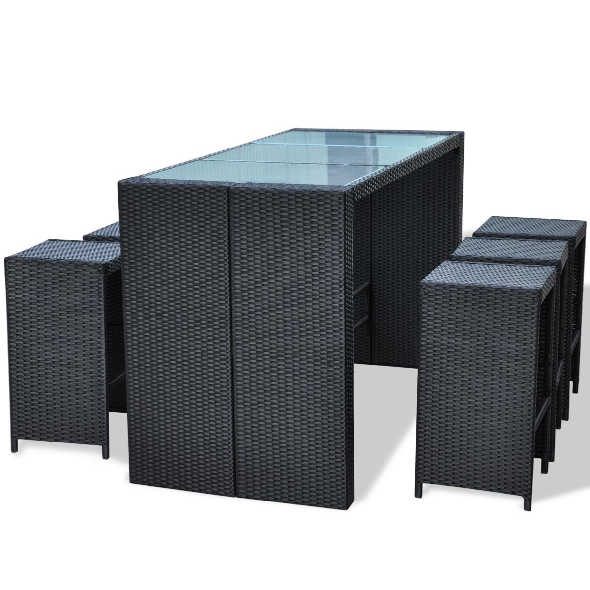 bar jardin r sine tress e noir et plateau verre 6 places. Black Bedroom Furniture Sets. Home Design Ideas