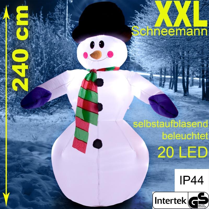 Bonhomme de neige lumineux geant 240 cm autogonflant d for Olaf decoration exterieure