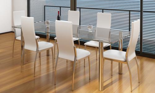 Chaises salle manger blanches similicuir lot de 4 - Chaise cuir noir salle manger ...