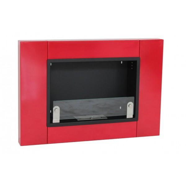 Cheminee thanol en inox avec vitre de protection rouge for Cheminee exterieure inox prix