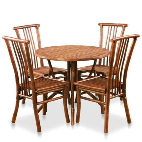 Ensemble table ronde et chaises en bambou