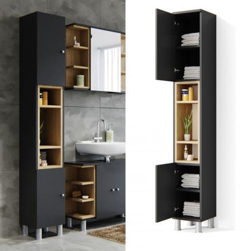 Meuble tour bois anthracite pour salle de bain - Ustensiles salle de bain ...