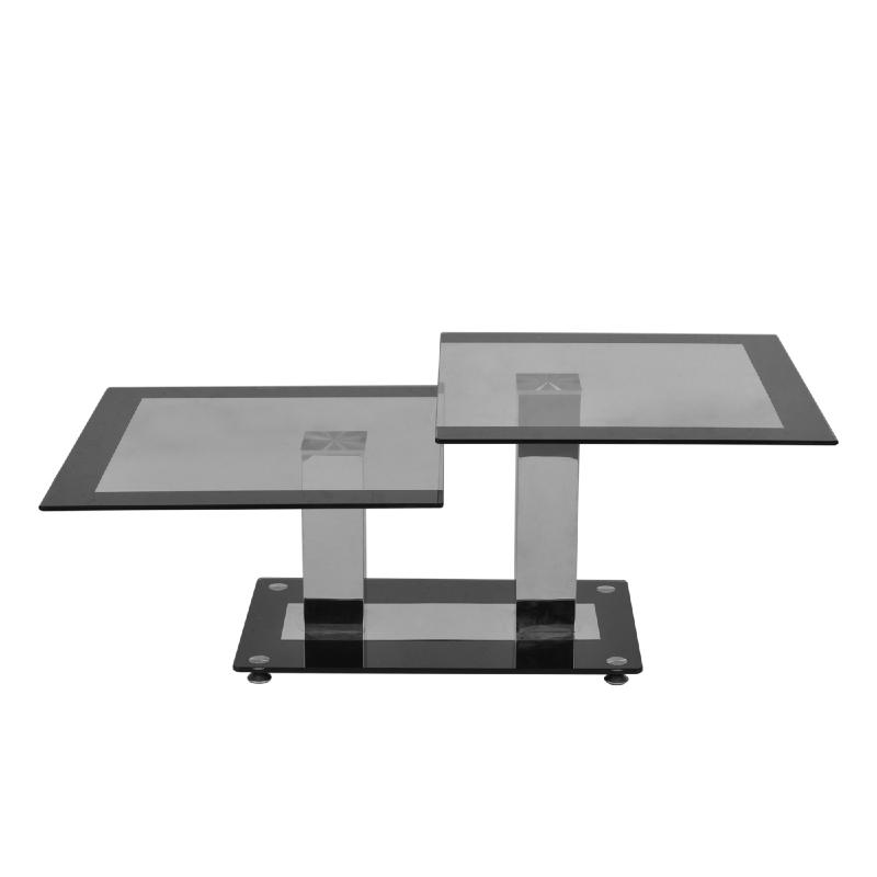 Table basse en verre 2 niveaux mod le elegance for Nettoyer table en verre