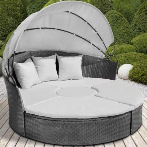 Canape de jardin rond modulable gris en r sine tress e for Petit canape de jardin