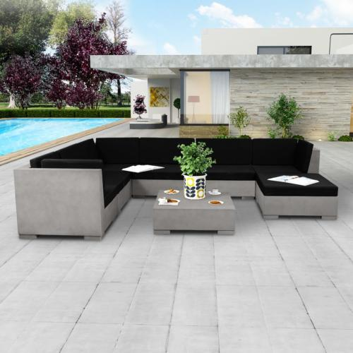 canapé, salon de jardin en béton, XXL, 300 x 225 x 150 cm