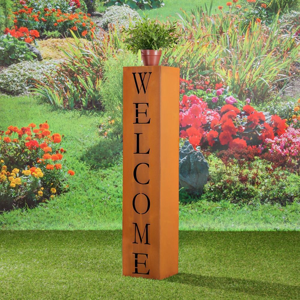 colonne d co jardin m tal marron inscription welcome. Black Bedroom Furniture Sets. Home Design Ideas