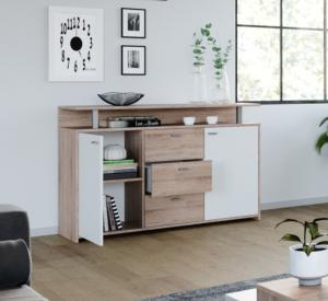 Commode design, beige - blanc, 135 cm