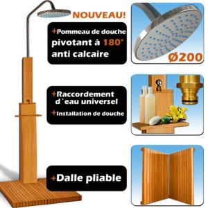 Douche pour l 39 ext rieur en bois exotique for Douche italienne bois exotique
