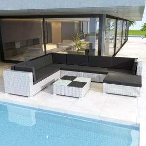 Salon de jardin canapé résine tressée blanc, 280 x 210 cm