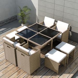 Salon de jardin résine tressée, gris/beige , 8, 10 ou 12 personnes, modèle  CUBA