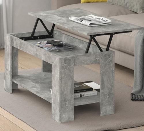 Table Basse Bois 100 Cm Couleur Beton Plateau Ouvrant