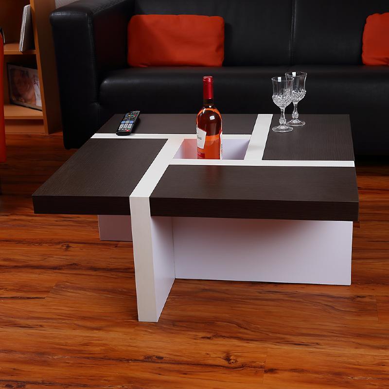 table basse mod le oregon marron blanc. Black Bedroom Furniture Sets. Home Design Ideas