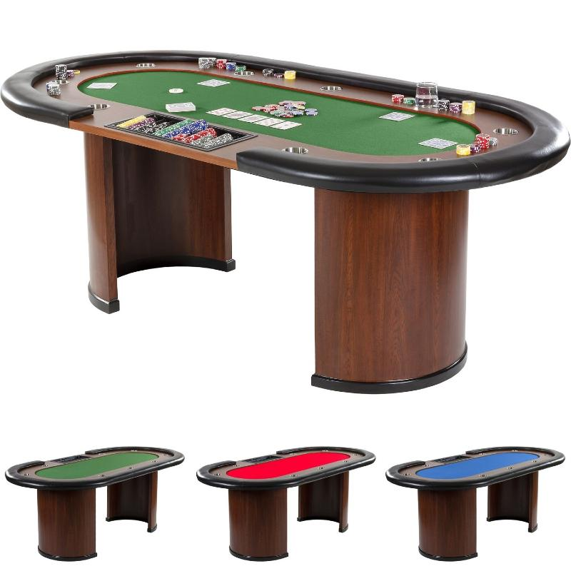 table de poker 3 couleurs de tapis 215 cm 10 personnes. Black Bedroom Furniture Sets. Home Design Ideas