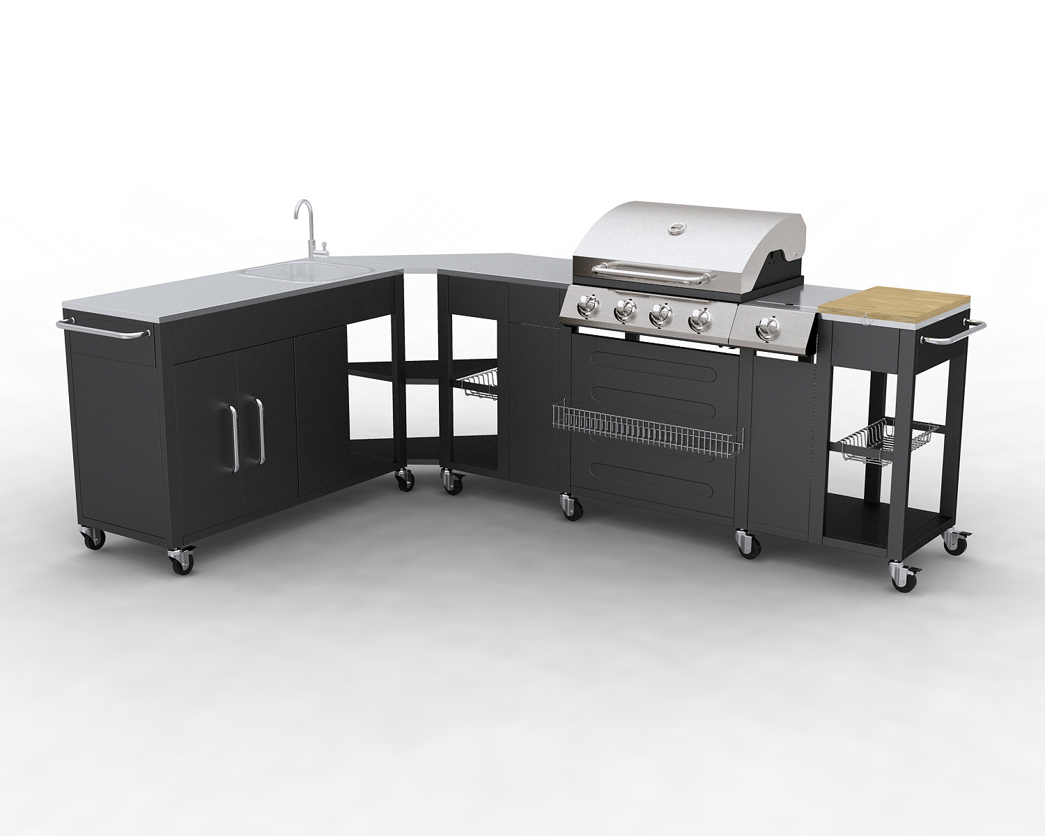 Barbecue gaz inox grand meuble cuisine exterieur for Four barbecue exterieur