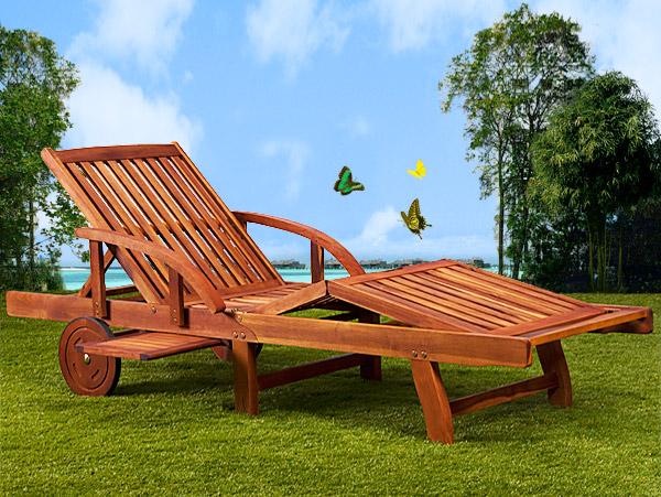 bain de soleil haut de gamme pliable en acacia marron. Black Bedroom Furniture Sets. Home Design Ideas