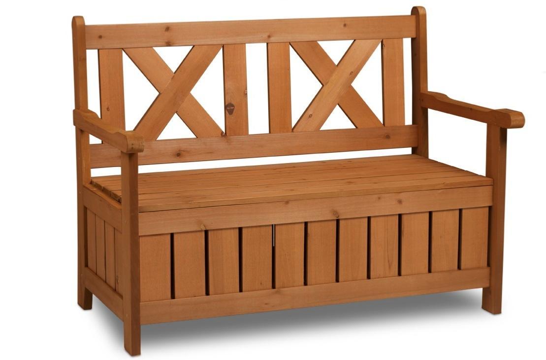 BANC de jardin bois, avec coffre de rangement intégré