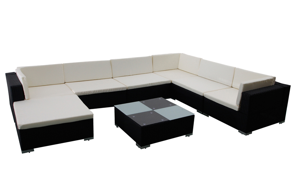 Salon canap de jardin en r sine tress e aluminium 24 pi ces - Canape en resine tressee ...
