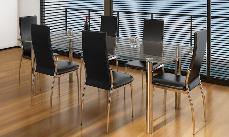 Chaises de salon noires similicuir lot de 4 - Chaise cuir noir salle manger ...