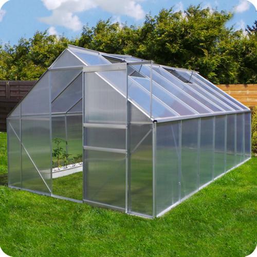 Serre de jardin en aluminium et polycarbonate, 10,75 m².
