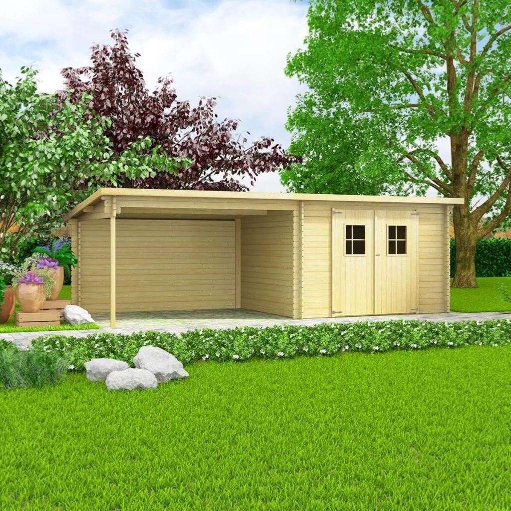 Abri de jardin bois massif extension r versible 20 m - Abri de jardin avec extension ...