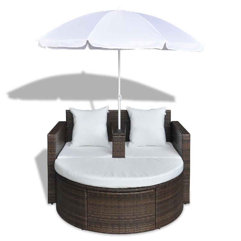 CANAPE de jardin rond en résine tressée marron parasol