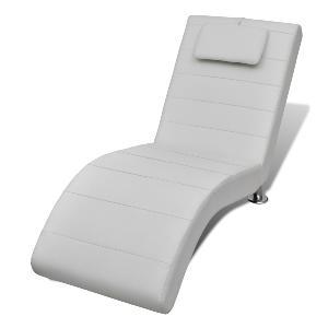 chaise longue cuir en blanc avec appui tte - Chaise Longue Cuir