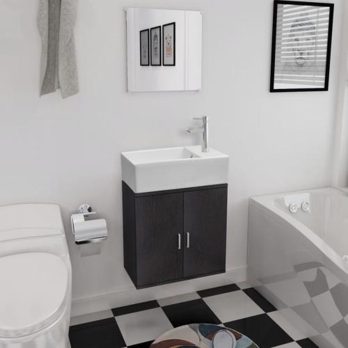 Meuble salle de bain, complet avec vasque et robinet, noir ou beige
