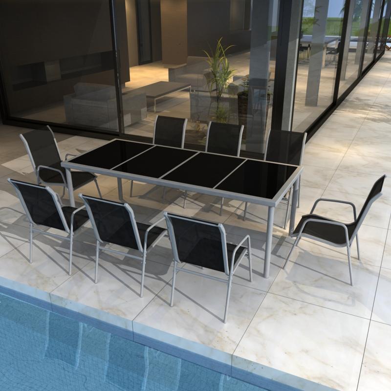 salon de jardin table 190 cm et 8 chaises. Black Bedroom Furniture Sets. Home Design Ideas